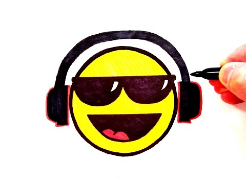 How to Draw a Cool Smiley Face with Sunglasses and  Head Phones