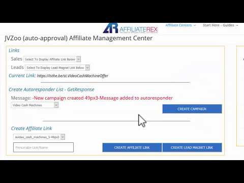 Affiliate Rex - JVZOO auto approve center links