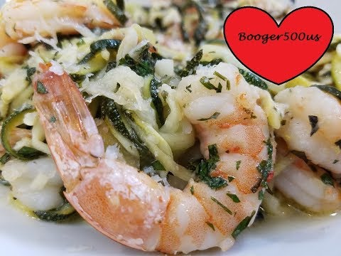 LEMON BASIL ZUCCHINI NOODLES WITH SHRIMP AIR FRYER