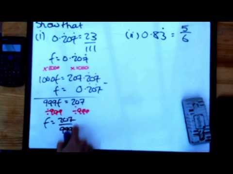 Tudor Hall Maths Number changing recurring decimals into fractions
