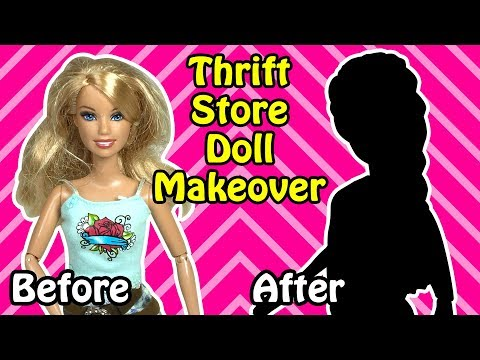 Makeover Transformation of Barbie Doll - DIY Thrift Shop Doll Hairstyle