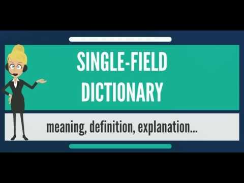 What is SINGLE-FIELD DICTIONARY? What does SINGLE-FIELD DICTIONARY mean?