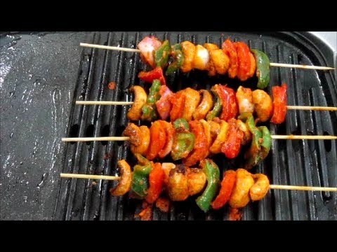 Grilled Mushrooms (Mushroom Tikka - North Indian Style) Recipe in Hindi with Captions in English