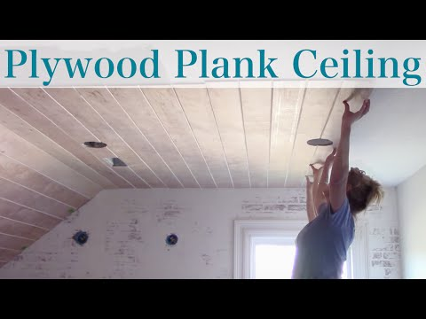 Plywood Faux Plank Ceiling