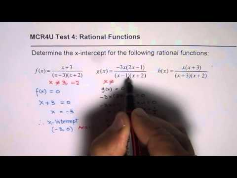 Determine X Intercepts of the Rational Functions Test