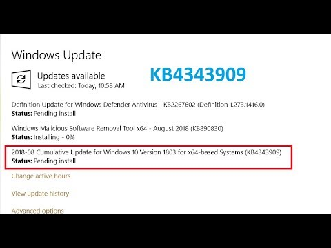 Cumulative Update for Windows 10 Version 1803 for x64 based Systems KB4343909