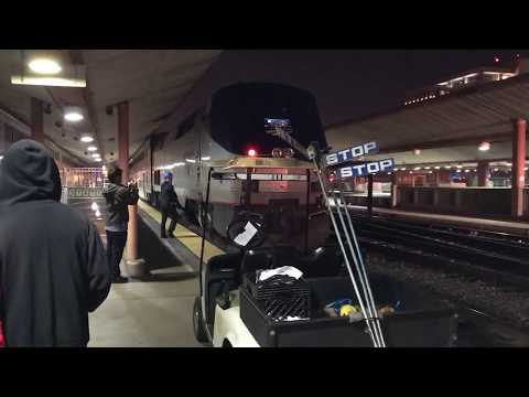 Amtrak with stuck Bell, Metrolink arrives