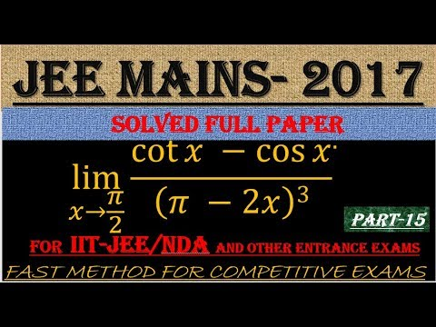 JEE MAINS - 2017 SOLVED MATHEMATICS Part -15 || ALSO IMPORTANT FOR NDA AND OTHER ENTRANCE EXAMS||