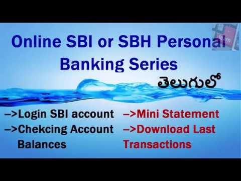 Online SBI Personal Banking in Telugu. Login, Check balns, Mini statement, Download Transactions.
