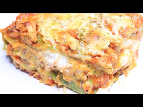 Home made fresh spinach pasta Lasagna - Cooking With Queenii