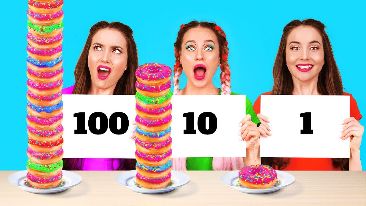 100 LAYERS FOOD CHALLENGE || Giant VS Tiny Food For 24 Hours by 123 Go! FOOD