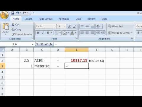 [Excel] Formula Acre - Meter sq