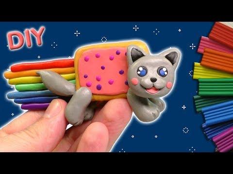 ЛЕПИМ НЯН КЭТ ИЗ ПЛАСТИЛИНА | Nyan Cat DIY
