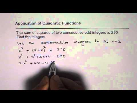 Quadratic Application Sum of Square of Two Consecutive Odd Integers