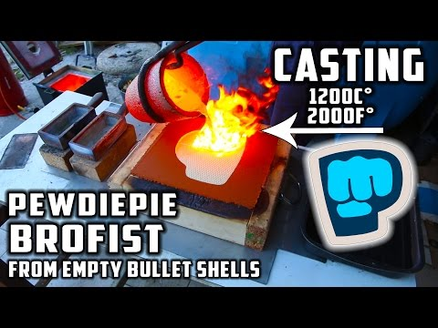 Casting PewDiePie 's Brofist from empty bullet shells