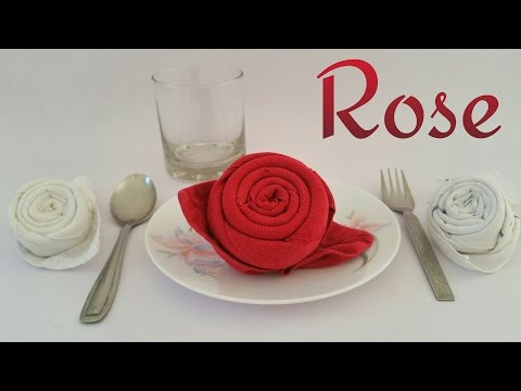 How to make a Rose using Table Napkin & Handkerchief for Valentine's Day - Tutorial from Paper Folds