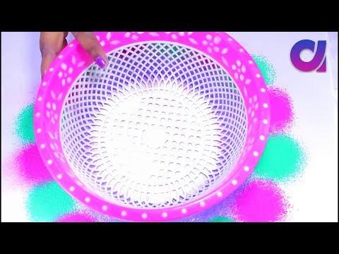 how to make Unique Rangoli Design using Basket, fork and tea cups   Artkala 309