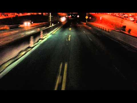 HD First Person POV Upper Deck of Megabus going through Lincoln Tunnel NYC New York
