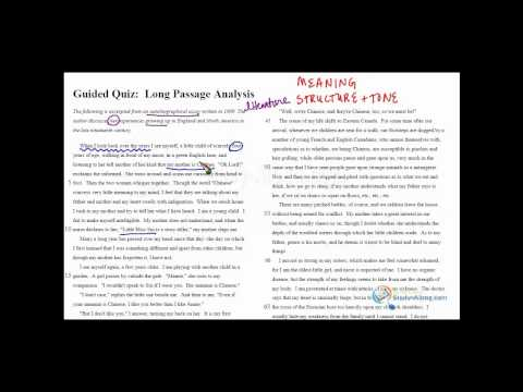 SAT Critical Reading Passage Analysis Sample