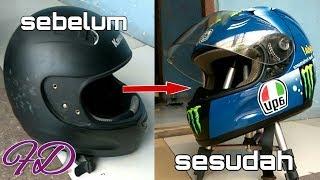 Repaint helm bawaan motor jadi agv pista misano VALENTINO ROSSI