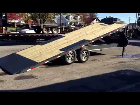 Lamar FA14 Gooseneck Deckover Flatbed Hydraulic Power Tilt Trailer 102x22 14000# GFA022427