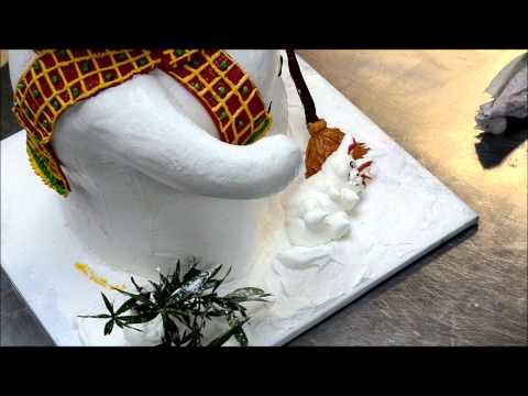 Decorating Christmas Cakes - Snow Man Cake