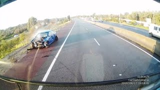 Commodore loses control and hits truck - Perth W.A