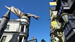 Dragon breathing fire at Universal Studios.