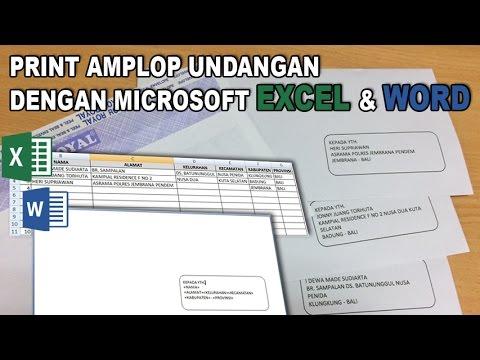 Print Amplop Undangan Dengan Microsoft Office Excel dan Word