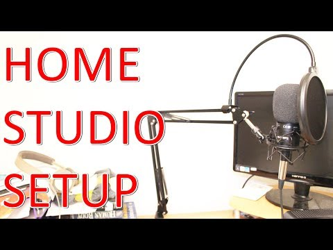 HOME STUDIO SET-UP + TECHNICA AT2020 MIC SHOCK MOUNT MICROPHONE STAND POP FILTER WINDSCREEN FOAM