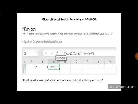 Microsoft excel IF-AND-OR LOGICAL FUNCTIONS