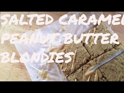 Salted caramel peanut butter blondies::VEGAN