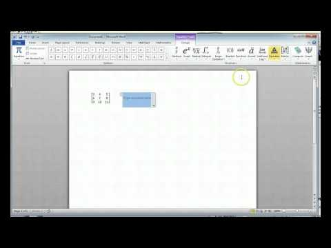 Typing Matrices Word 2010