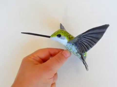 Hummingbird designer paper mache bird sculpture
