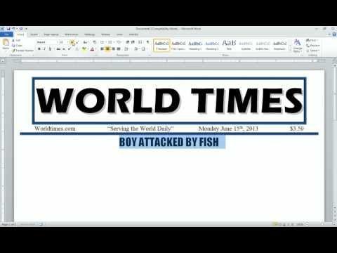 Word 2010 Newspaper Project Headline