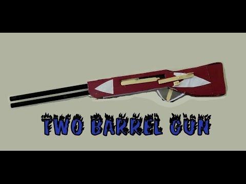 how to make paper & cardboard Double Barrel Shotgun - easy way - toy for kids game