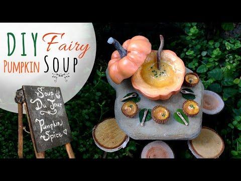 Miniature Pumpkin Soup Scene for Fairy Garden or Dollhouse, Mixed Media Polymer Clay Food Tutorial