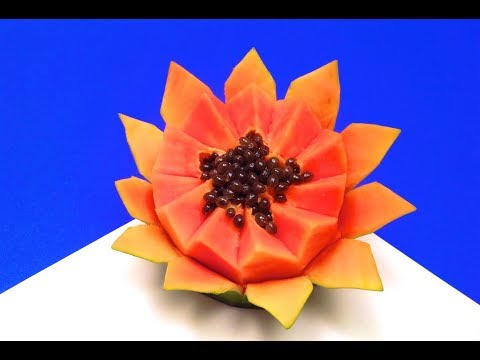 How to Cut Up Lotus Flower Papaya Within One Minute | Papaya Flower Expert Cutting Skills Video