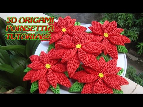 HOW TO MAKE 3D ORIGAMI POINSETTIA | DIY POINSETTIA CHRISTMAS DECORATION TUTORIALS