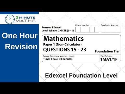 Edexcel Foundation paper 1 non calculator - questions 15 - 23