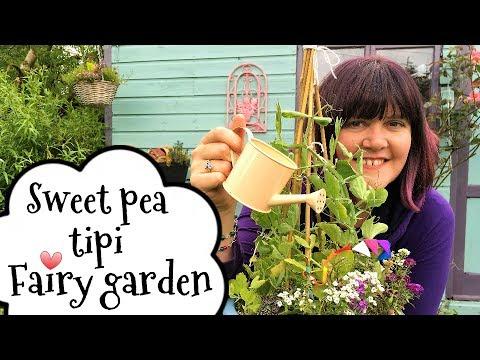 Cute fairy gardening ideas, Sweet pea tipi fairy garden