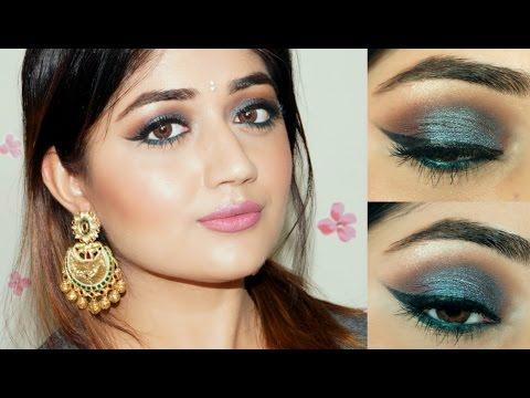 Blue Shimmer Indian Festive Makeup Tutorial | corallista