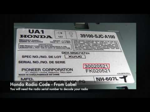 Honda Radio Codes From Serial Number | Civic, Accord, CRV
