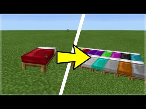 HOW TO DYE BEDS IN MINECRAFT POCKET EDITION!  Dye Any Bed (Minecraft PE Concept)