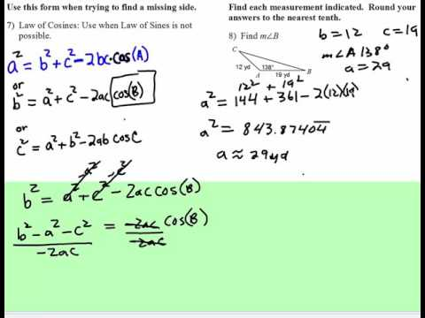 Law of Cosines: Missing Angle Given SAS