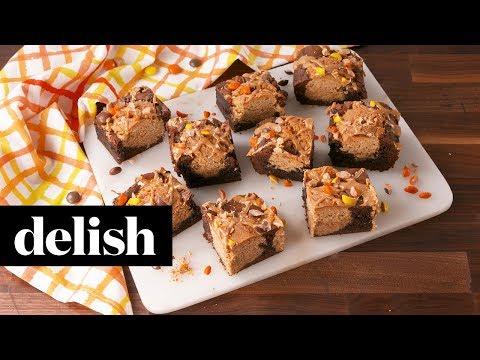 Peanut Butter Cookie Stuffed Brownies | Delish