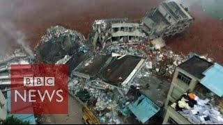 Drone reveals China landslide destruction - BBC News