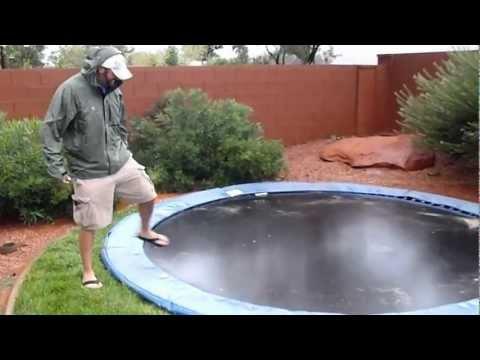 In-ground trampoline during flash flood.