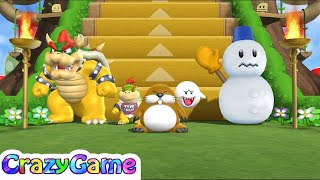 Mario Party 9 Step It Up #55 Bowser vs Jr. Bowser vs Boo Gameplay (Free for All Minigames)