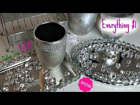 DOLLAR TREE Glam Mirrored Vanity Trinket Tray DIY | EVERYTHING $1
